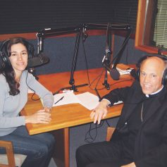Michele interviewing Archbishop of San Francisco, Salvatore Cordileone on EWTN radio.